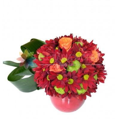 aranjamente din crizanteme si santini