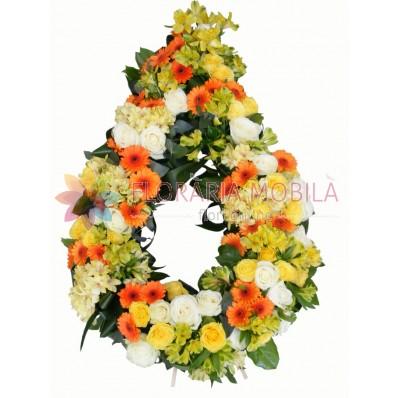 coroana funerara din trandafiri, crizanteme si alstroemeria