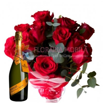 buchet din trandafiri si proseco