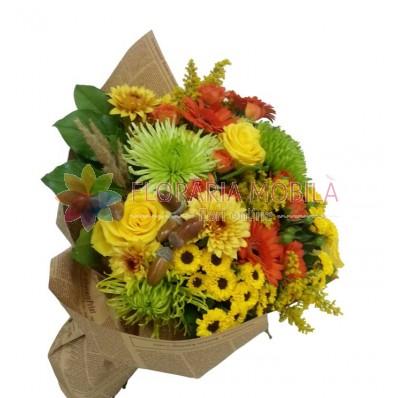 buchet cu trandafiri, crizanteme si gerbera