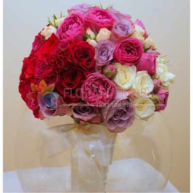 buchete mireasa cu trandafiri buble