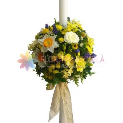 lumanare botez din flori de camp