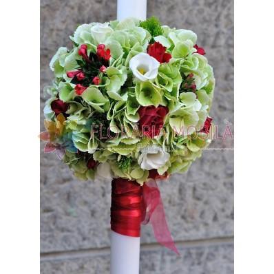 lumanari de nunta din hortensie verde si bouvardia