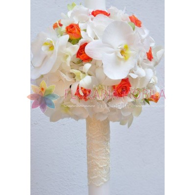 lumanari de nunta cu orhidee dendrobium si orhidee phaleonopsis