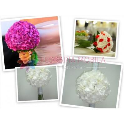 pachet nunta trandafiri si hortensie