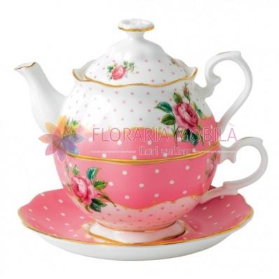 Set ceai Tea for One Cheeky Pink din portelan englezesc