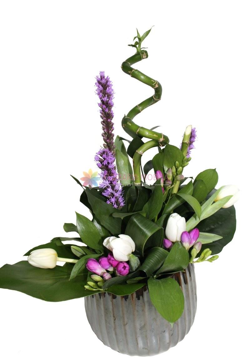 Aranjament Liatris Bambus Si Lalele La 199 Lei Floraria Mobila