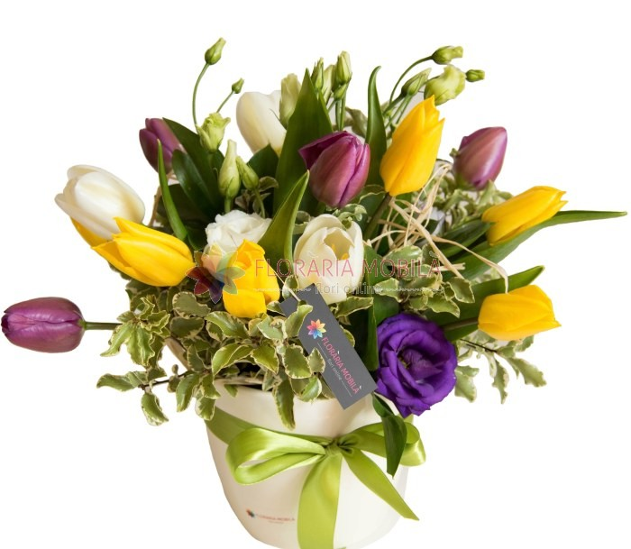 Aranjament Lalele Si Lisianthus La 195 Lei Floraria Mobila