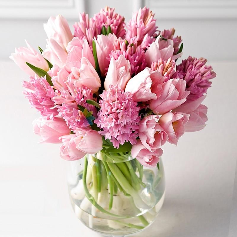 Aranjament Cu Lalele Si Zambile La 259 Lei Floraria Mobila