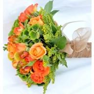 buchete de mireasa cu trandafirasi portocalii