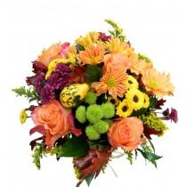 Aranjament crizanteme, santini, trandafiri