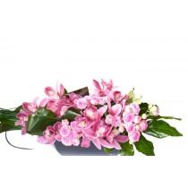 Aranjament orhidee si mini trandafiri