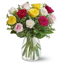 buchet 13 trandafiri multicolori