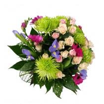 buchet mini trandafiri si crizanteme