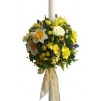 lumanare botez din flori de camp colorate