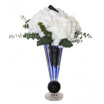 Hortensie in Vaza Flauto din Cristal Florentin