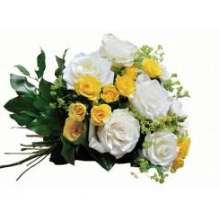 buchete din trandafiri albi si mini trandafiri galbeni
