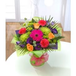 buchet gerbera, trandafiri, lisianthus