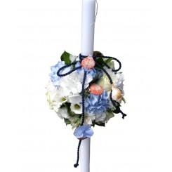 lumanare botez din trandafiri si hortensie