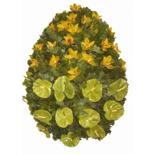 coroana flori din orhidee si anthurium