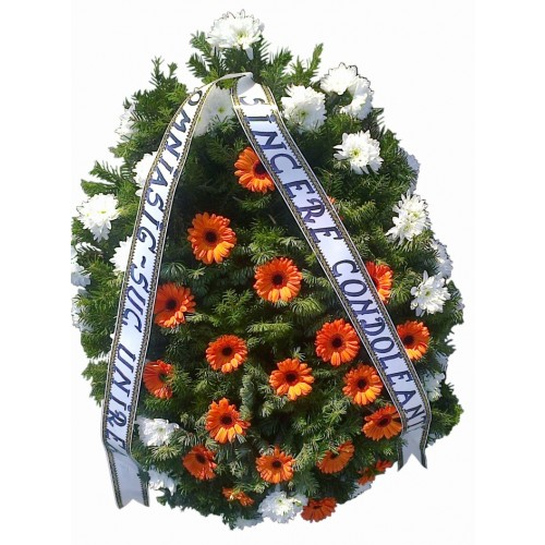 coroana flori din crizantheme si gerbera