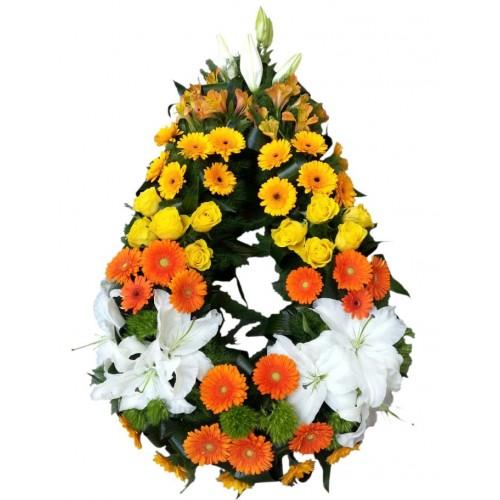 coroane funerare din trandafiri  si gerbera
