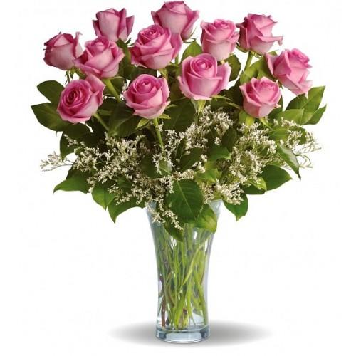 buchet 13 trandafiri roz