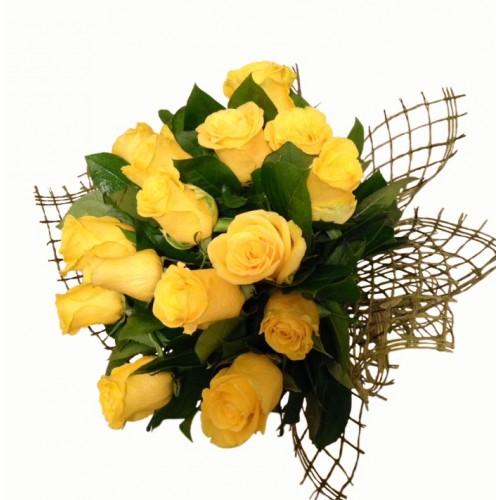 buchet 17 trandafiri galbeni