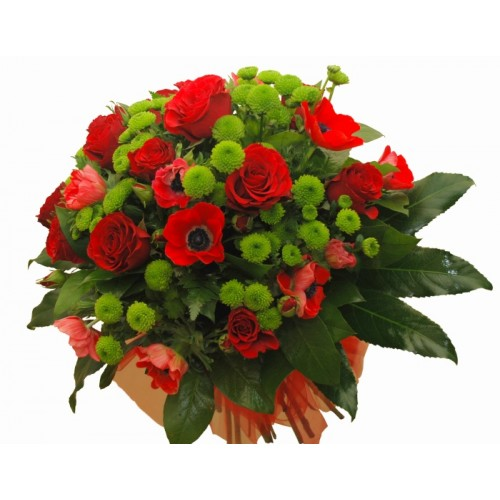 buchet cu trandafiri, anemone, santini