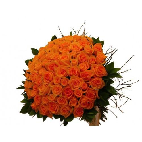 buchet trandafiri portocalii