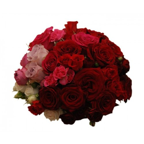 buchet cu trandafiri si mini trandafiri