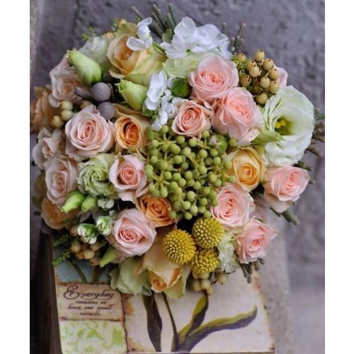 buchete mireasa din trandafiri si ornitogalum