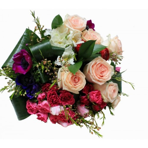 buchet trandafiri, lalele si anemone