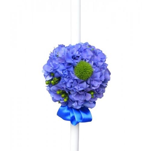 lumanari de botez cu hortensie albastra
