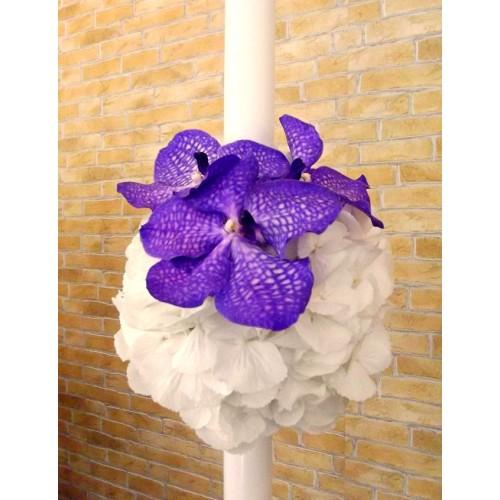 lumanari nunta din hortensie si orhidee vanda mov