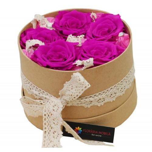 trandafiri roz criogenati in cutie