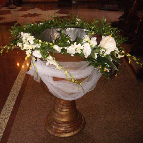 aranjament cristelnita cu anturium si orhidee
