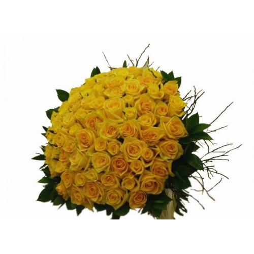 buchet 101 trandafiri galbeni